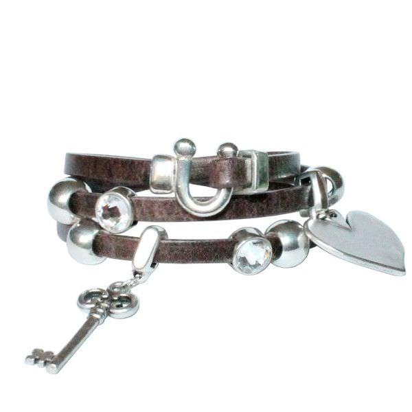 Bracelet femme cuir triple tour Cœur cristal SwarovskI