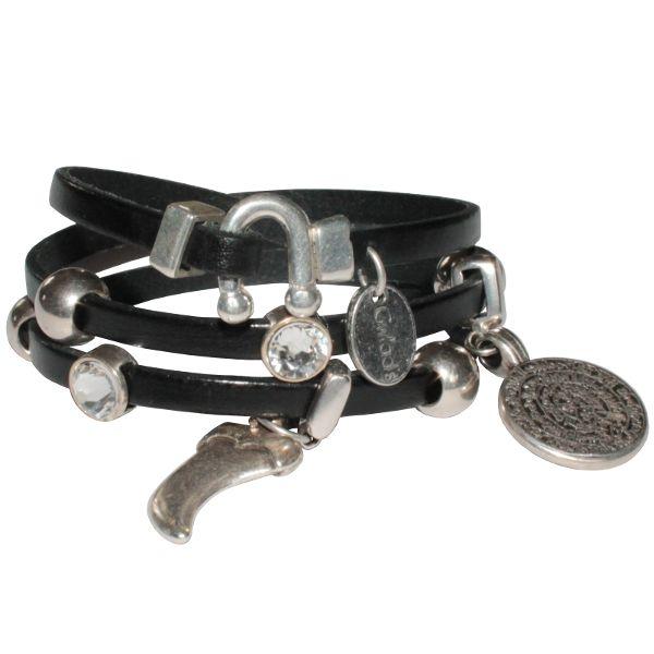 Bracelet femme cuir triple tours breloques cristal Swarovski noir