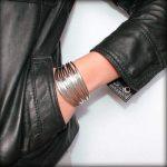 Bracelet cuir femme manchette Multi Tubes noir 3