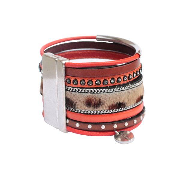 Bracelet manchette cuir multi liens léopard