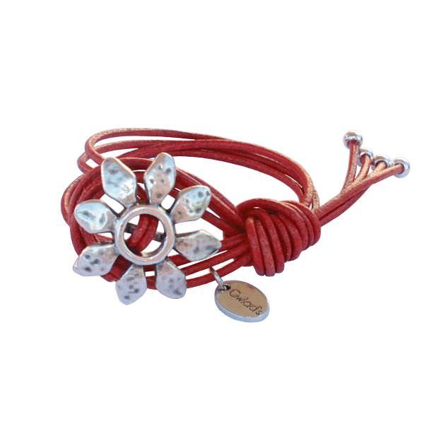 "Bracelet cuir femme cordon ""Fleur"" Gwlad's"