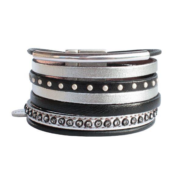 Bracelet cuir femme Manchette cuir Multi liens argenté 1