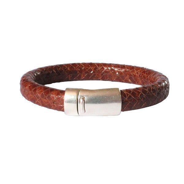 Bracelet homme cuir régaliz reptile marron