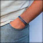 """Bracelet homme cordon cuir surpiqué """"Taman"""" bleu"""