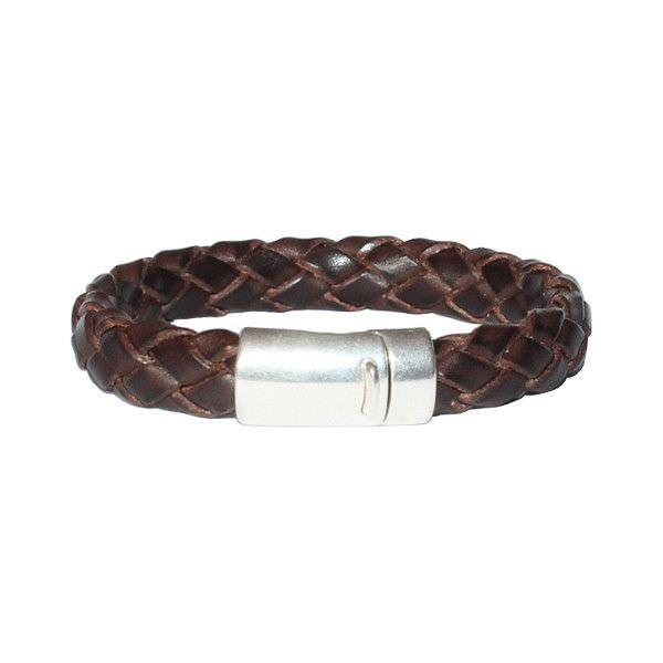 Bracelet homme cuir tressé 2 chocolat