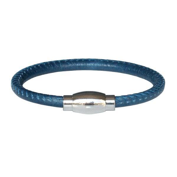 Bracelet enfant cuir surpiqué bleu jean