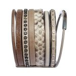 Bracelet cuir femme manchette cuir lanières Savane marron taupe strass 2