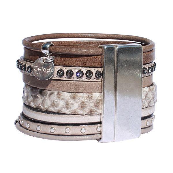 Bracelet manchette cuir strass