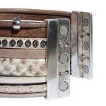 Bracelet cuir femme manchette argenté So Chic