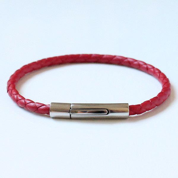 """bracelet homme cuir tressé rouge intense """"kabbale""""fermoir acier"""