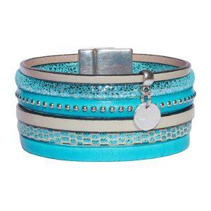 """Bracelet femme cuir manchette turquoise argenté beige clair """"Casablanca"""""""