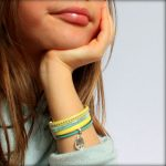 Bracelet enfant fille cuir manchette Peace And Love Jaune 6