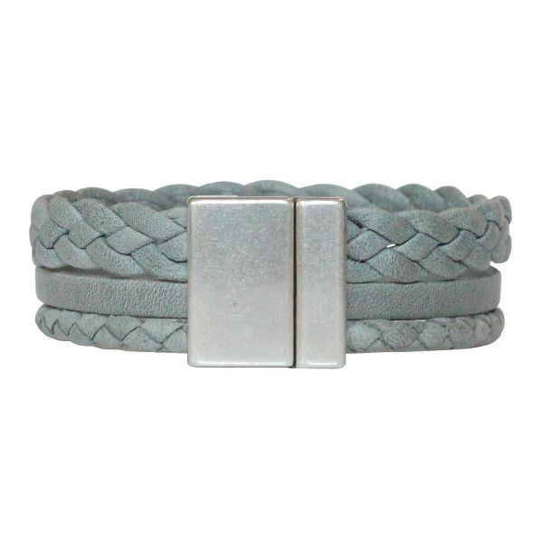 Bracelet homme cuir gris