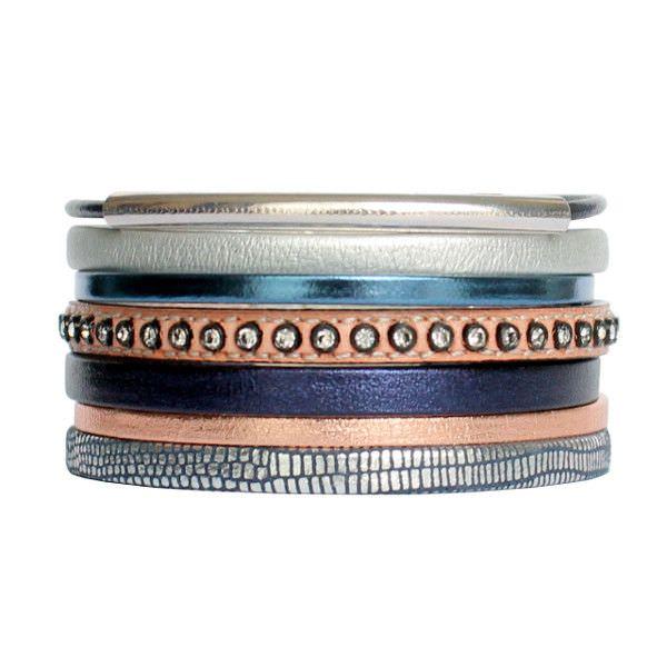 Bracelet femme cuir manchette strass swarovski