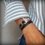 Bracelet cuir femme 2 tours fermoir toggle bleu marine 2