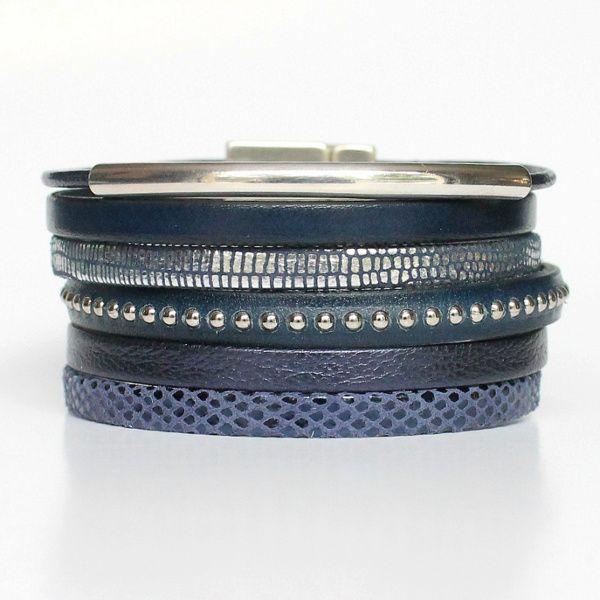 Bracelet femme cuir manchette bleu marine