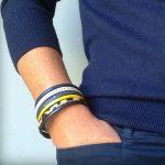 Bracelet cuir femme manchette Léopard bleu marine jaune moutarde 4