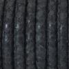 Bracelet - Cordon cuir reptile surpiqué - 5mm - Noir