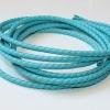 Bracelet cordon cuir tresse - 4mm - Turquoise
