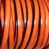 Bracelet femme - cuir plat - Orange vif