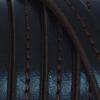 Bracelet homme - cuir noir surpiqué marron