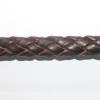 Bracelet cuir tressé 10 x 6 mm marron chocolat