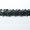 Bracelet cuir tressé 10 x 6 mm noir