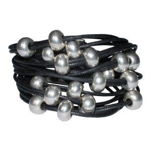 Bracelet femme cordon coton ciré boule noir