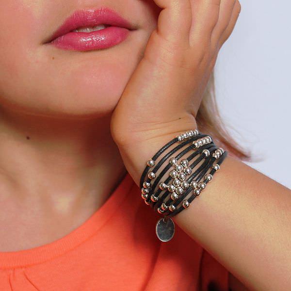 Bracelet enfant fille cordon coton cire boules gris anthracite 2