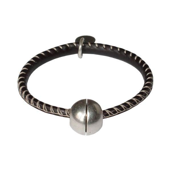 Bracelet enfant garçon cordon cuir surpiqué fermoir aimanté boule