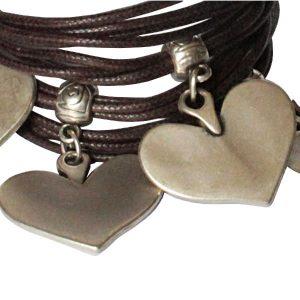 Bracelet femme cordon coton cire cœur marron chocolat 2