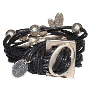 Bracelet femme cordon coton ciré libellule noir 2
