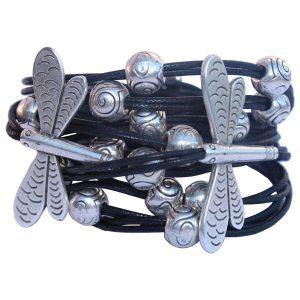 Bracelet femme cordon coton ciré libellule noir