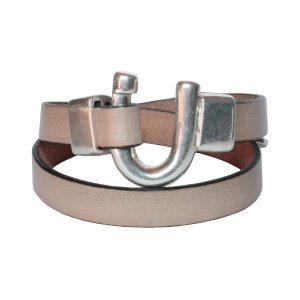 Bracelet cuir femme double tour Fer à Cheval beige clair