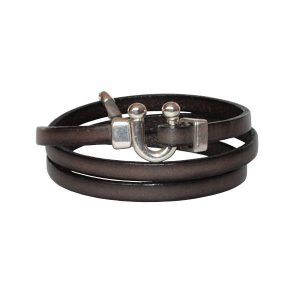 Bracelet femme cuir petit fer a cheval brun taupe
