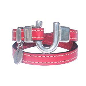 Bracelet femme cuir surpique fer a cheval rouge profond 1