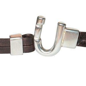 Bracelet femme cuir vieilli fer a cheval brun 2