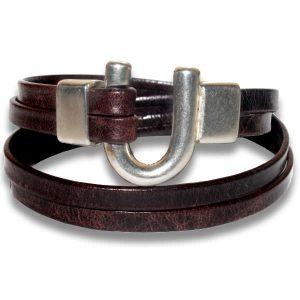 Bracelet femme cuir vieilli fer a cheval brun