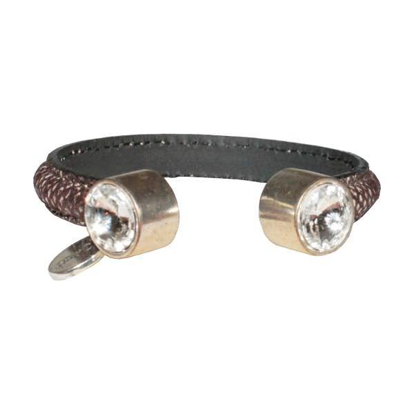 Bracelet femme demi jonc cuir daim cristal Swarovski