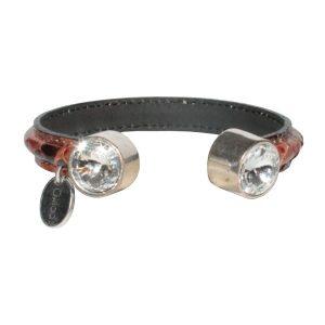 Bracelet femme demi jonc cuir python cristal Swarovski marron