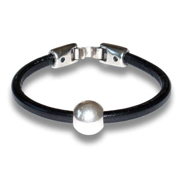 """Bracelet homme cordon cuir """"Boule"""" noir"""