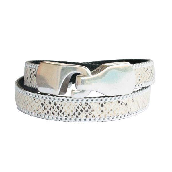 Bracelet cuir femme double tour façon reptile bordure chaînette