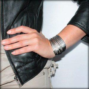 Bracelet cuir femme manchette Multi Tubes noir 4