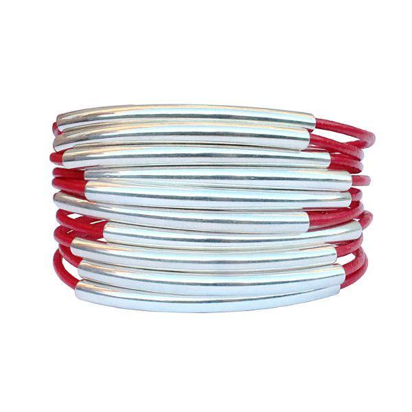 Bracelet cuir femme manchette multi tubes rouge corail