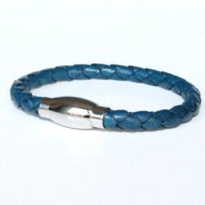 bijou bracelet enfant garçon ado cuir tressé bleu cobalt 1