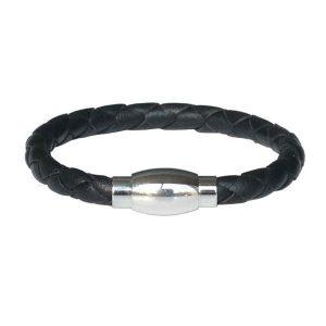 Bracelet homme cuir tressé noir