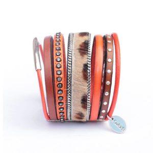 Bracelet cuir femme manchette cuir multi liens Léopard 2