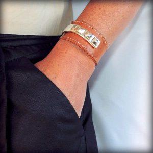 Bracelet cuir femme manchette demi jonc Gizeh 4Bracelet cuir femme manchette demi jonc Gizeh 4