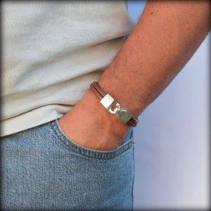 """Bracelet cuir homme cordon surpique """"Nolan"""" 3"""