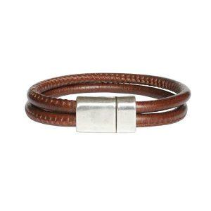 Bracelet homme cordon cuir surpiqué Taman cognac
